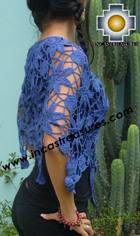 Andean Crochet Poncho Flowers blue - Product id: crochet-poncho-03 Photo02