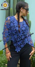 Andean Crochet Poncho Flowers blue - Product id: crochet-poncho-03 Photo01