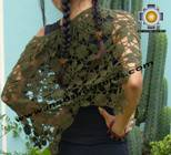 Andean Crochet Poncho Flowers green - Product id: crochet-poncho-07 Photo02