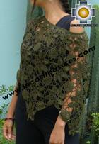 Andean Crochet Poncho Flowers green - Product id: crochet-poncho-07 Photo01