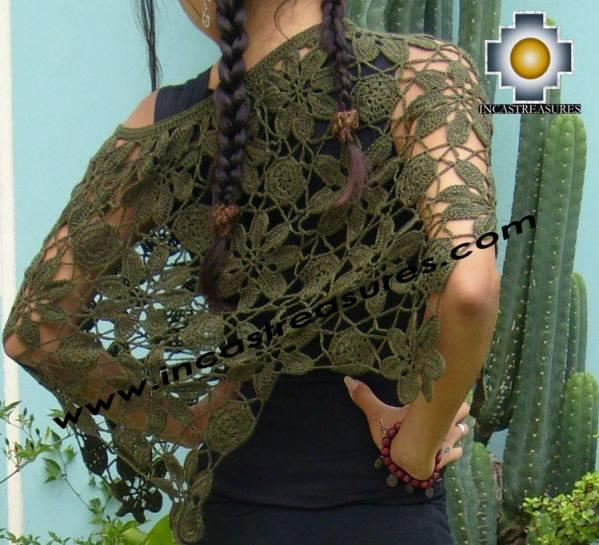 Alpaca Crochet Poncho Flowers green - Product id: alpaca-poncho09-17
