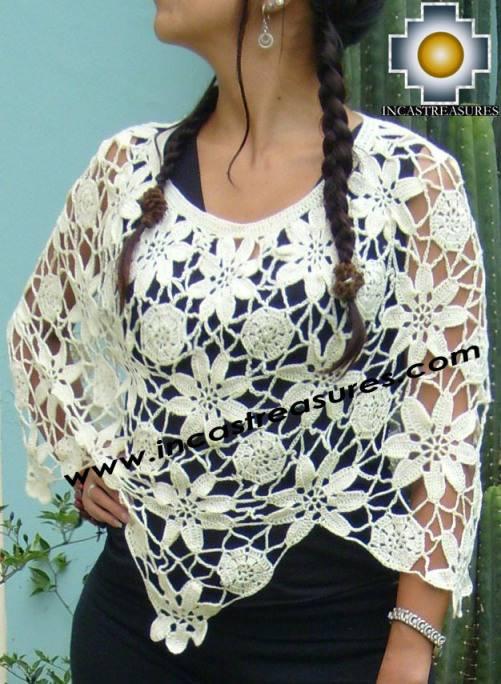 Alpaca Crochet Poncho Flowers White