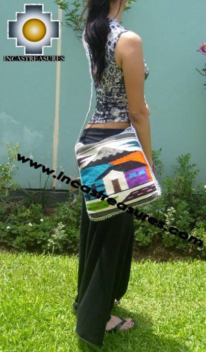 big Handmade sheep wool square handbag LANDSCAPE