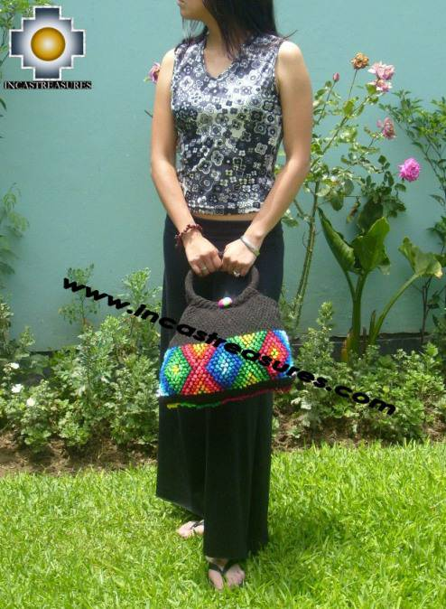 Black handmade handbag with dots