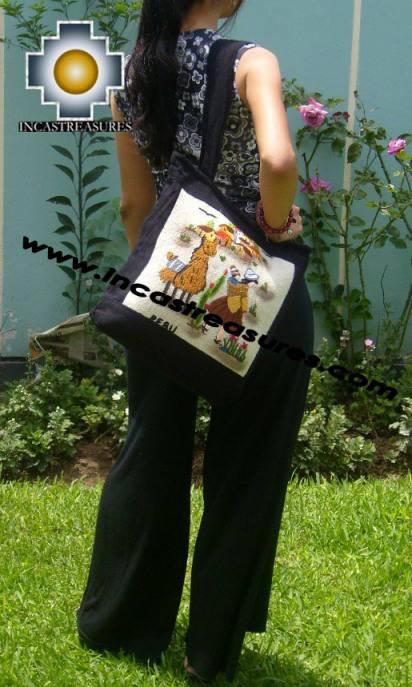 Handbag with handmade embroided AYACUCHO