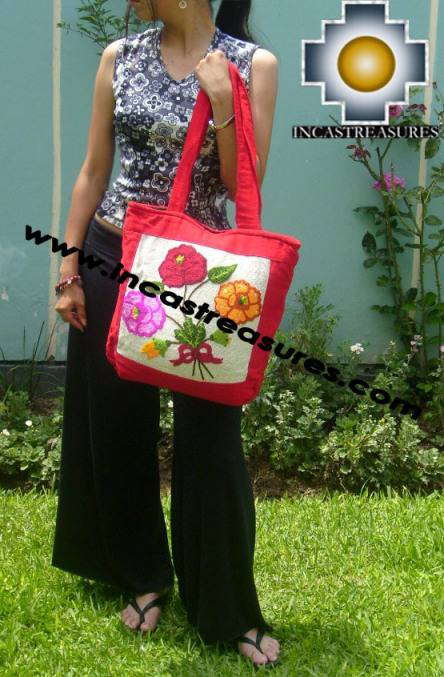 Handbag with handmade embroided Flowers