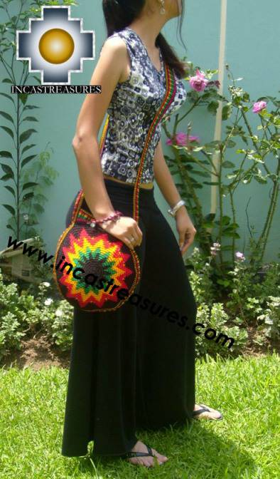 Handmade Rasta Round Handbag - Bright Star - Product id: HANDBAGS09-37
