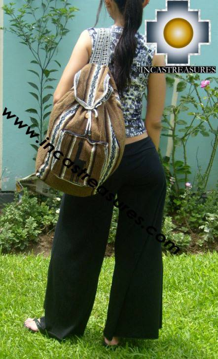medium alpaca travel backpack BROWN - Product id: HANDBAGS09-41 Photo06