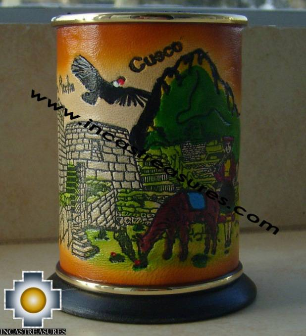 Home decor andean leather vase
