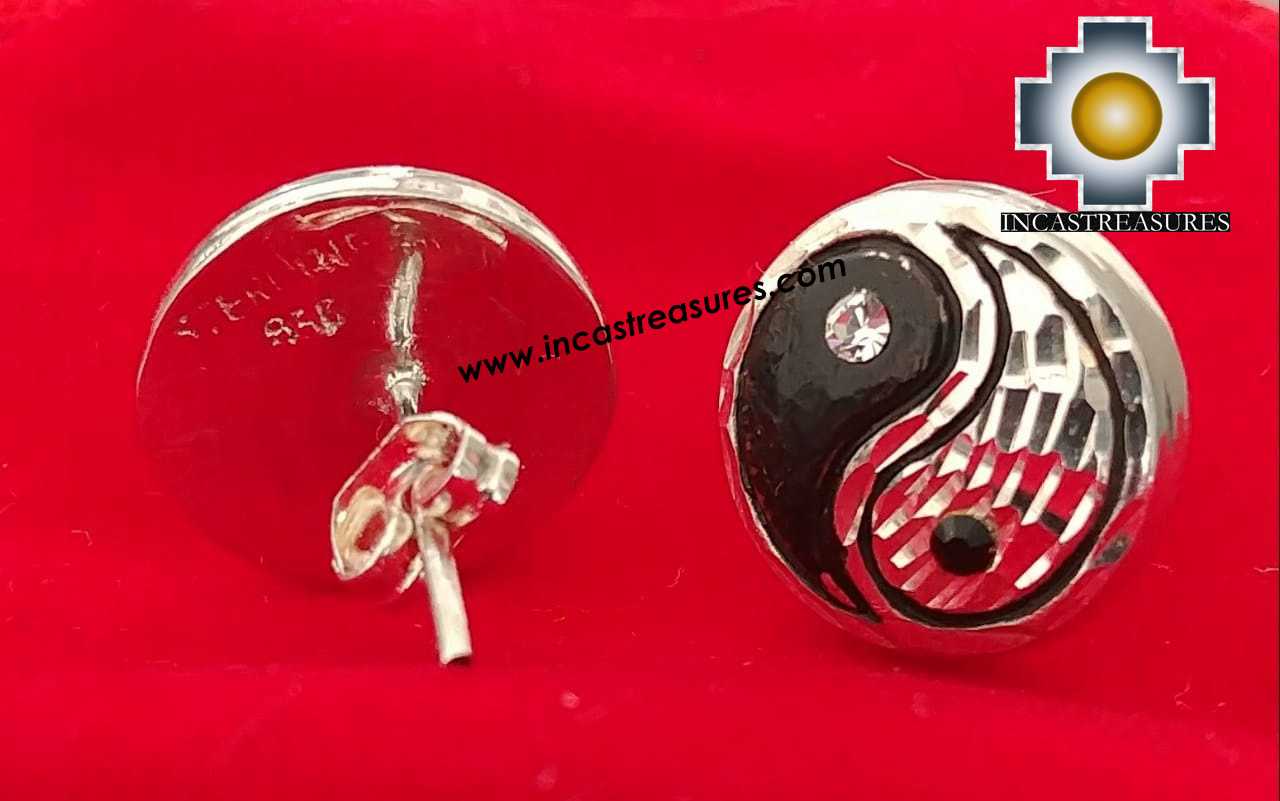 Jewelry 950 Silver Earrings Yin Yang - Kit of 10