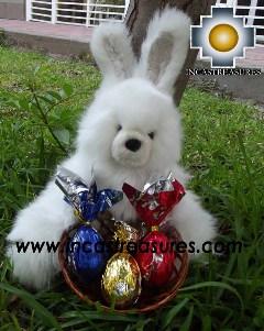 Alpaca stuffed easter bunny chocolate eggs - 100% Baby Alpaca - Product id: TOYS12-06 Photo02