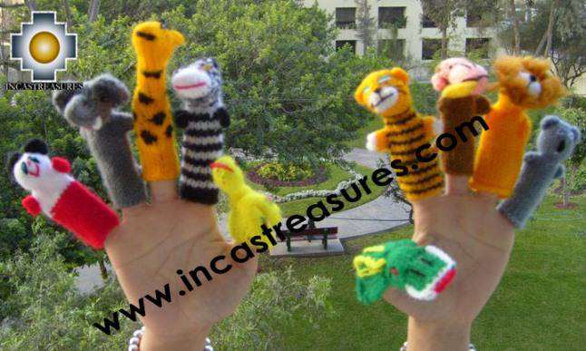Wild Animals Special , hand-knit finger puppets